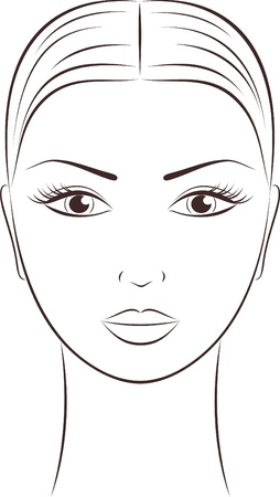dessin au trait: Illustration du visage des femmes de Illustration