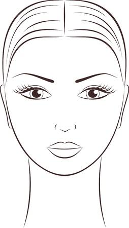 contorno: ilustraci�n de la cara de la mujer s