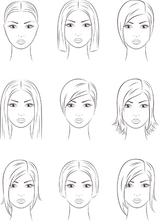 illustration of women s faces Ilustrace