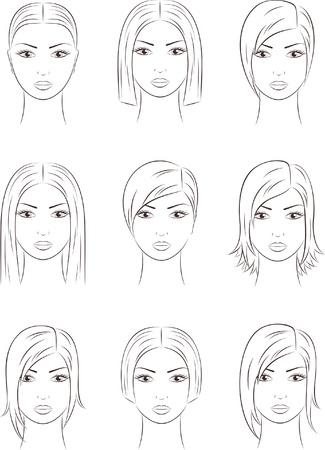 illustration of women s faces Vettoriali