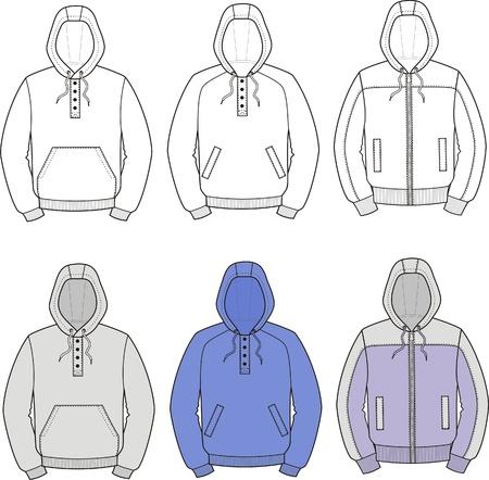 hooded: illustration  Set of smocks