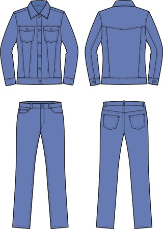 jeans pocket: illustration of women s jeans clothes  jacket and pants  Front and back views