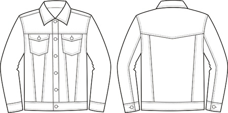 pocket size: illustration of jeans jacket  Front and back views Illustration