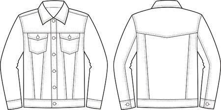 pocket size: illustration of jeans jacket  Front and back views Illustration