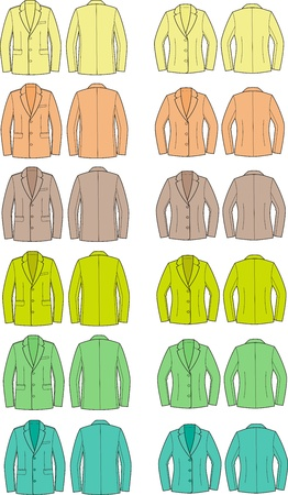 pocket size: illustration of men s and women s business jackets  Different colors  Front and back views
