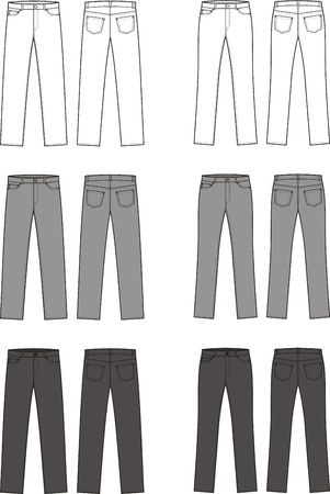seams: illustration of men s and women s jeans  Different colors  white, grey, black  Front and back views Illustration