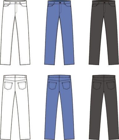 men s: illustration  Set of men s jeans  Different colors  white, blue, black  Front and back views Illustration