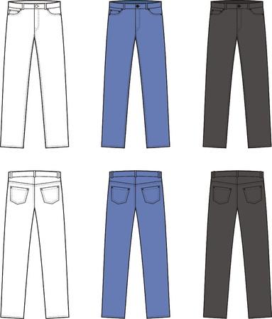 pocket size: illustration  Set of men s jeans  Different colors  white, blue, black  Front and back views Illustration