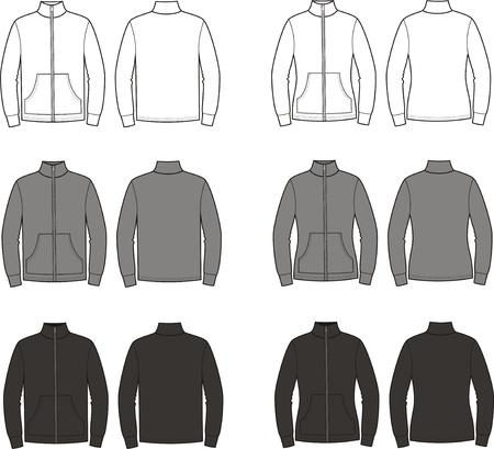 illustratie Set van mannen s en vrouwen en sport jumpers Verschillende kleuren wit, grijs, zwart Voor-en achterzijde uitzicht Stock Illustratie