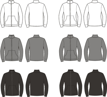 illustration  Set of men s and women s sport jumpers  Different colors  white, grey, black  Front and back views