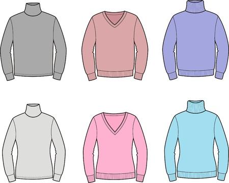 illustration  Set of men s and women s jumpers