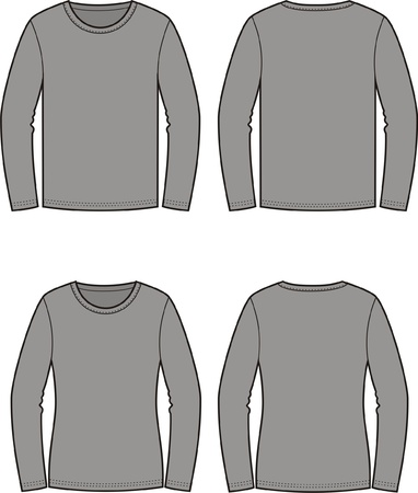 seams: illustration of men s and women s jumpers  Front and back views