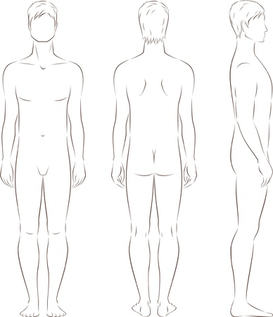 outline drawing: illustration of men s figure  Front, back, side views  Silhouettes Illustration