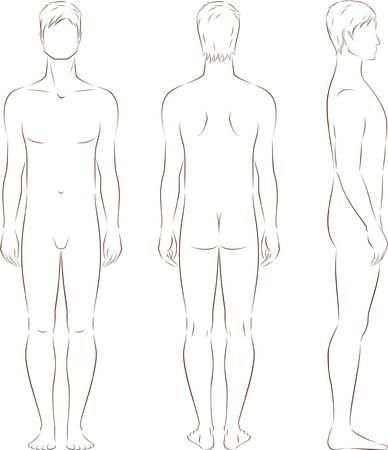 outline drawing: Illustrazione di uomini s figura davanti, dietro, viste laterali Silhouettes
