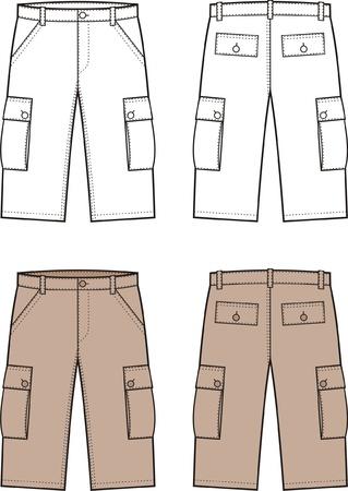 illustration of sport shorts Front and back views Ilustração Vetorial