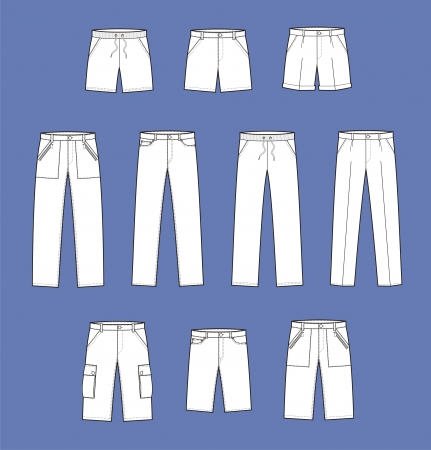 pocket size: illustration  Set of pants and shorts