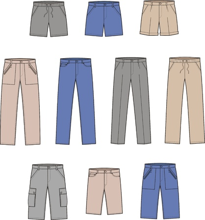 sports wear: illustration  Set of pants and shorts
