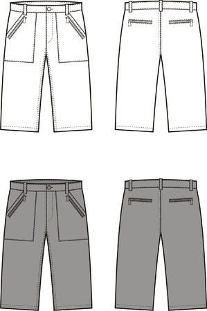 pocket size: illustration of sport shorts  Front and back views Illustration
