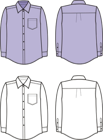 illustration of men s business shirt  Front and back views Stock Vector - 20074962