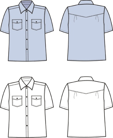 illustration of men s business shirt  Front and back views Stock Vector - 20074971