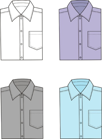 men s: illustration  Set of men s business shirts Illustration