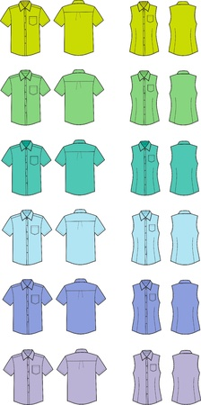 illustration  Set of men s and women s business shirts  Different colors  Front and back views Stock Vector - 20075284