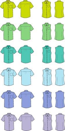 business shirts: Ilustraci�n Conjunto de los hombres sy camisas del negocio mujeres s Diferentes colores frontal y trasera puntos de vista Vectores