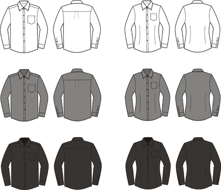 illustration  Set of men s and women s business shirts  Different colors  white, grey, black  Front and back views Stock Vector - 20075245