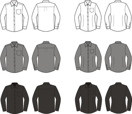 business shirts: Ilustraci?n Conjunto de los hombres sy camisas del negocio mujeres s Diferentes colores blanco, frente y parte posterior del negro gris vistas