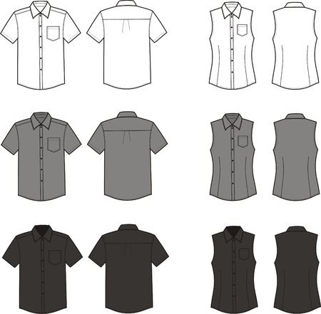 illustration  Set of men s and women s business shirts  Different colors  white, grey, black  Front and back views Stock Vector - 20075216