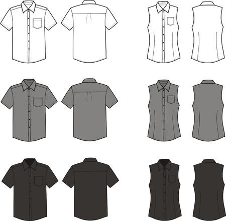 business shirts: Ilustraci�n Conjunto de los hombres sy camisas del negocio mujeres s Diferentes colores blanco, frente y parte posterior del negro gris vistas Vectores