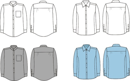 illustration  Set of men s business shirts  Front and back views Stock Vector - 20075169