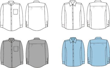 business shirts: Ilustraci�n Conjunto de los hombres s camisas negocio Vista frontal y posterior