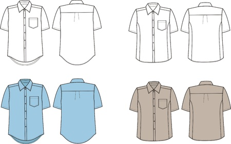 men s: illustration  Set of men s business shirts  Front and back views Illustration