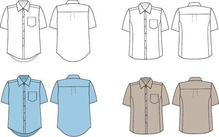 business shirts: Ilustraci?n Conjunto de los hombres s camisas negocio Vista frontal y posterior Vectores