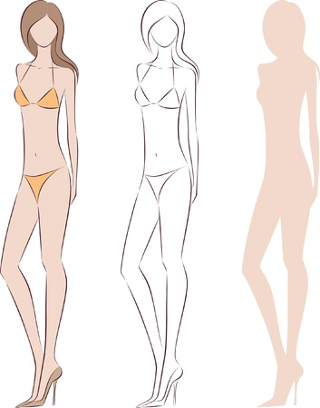 women s fashion: illustration of women s fashion silhouette in swimsuit  Three options