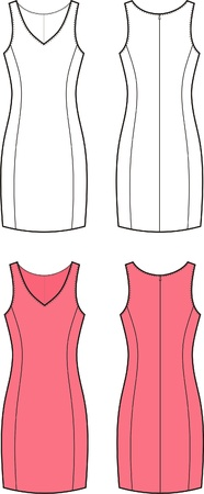 neckline: Vector illustration of women s classic dress  Front and back views