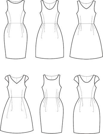 Vector illustration of women s romantic dresses