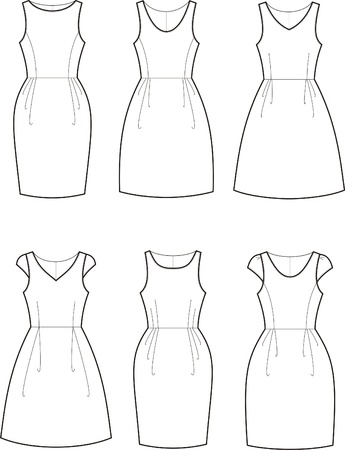 Vector illustration of women s romantic dresses