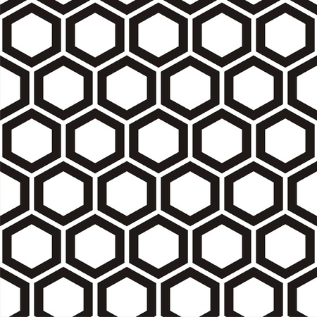 Vector illustration of seamless black-and-white pattern with honeycombs Vettoriali