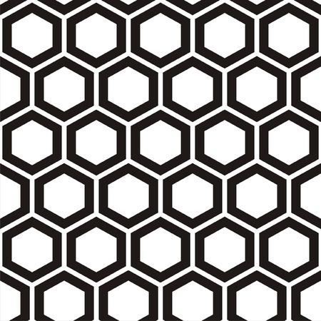 abejas panal: Ilustración del vector del patrón negro y blanco sin fisuras con los panales