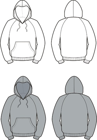 smock: Vector illustration of men s smock  Front and back views