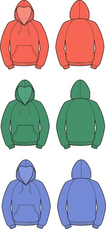 Vector illustration of men s smock  Front and back views  Different colors Vector