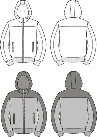 encapuchado: Ilustraci?n vectorial de deporte con capucha Frente chaqueta y vistas de nuevo