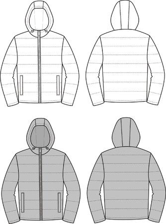 encapuchado: Ilustraci�n vectorial de deporte con capucha Frente chaqueta y vistas de nuevo