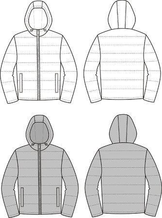 hooded: Vector illustration of sport hooded jacket  Front and back views