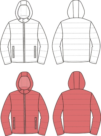 Vector illustration of sport hooded jacket  Front and back views Vector