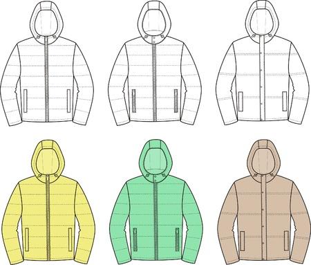 encapuchado: Ilustraci�n vectorial Conjunto de deporte chaquetas encapuchadas