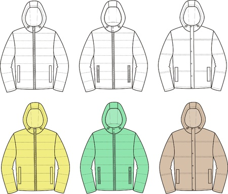 Vector illustration  Set of sport hooded jackets Vector