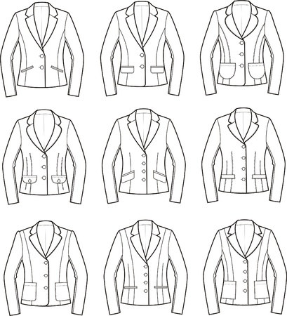 pocket size: Vector illustration of women s business jackets